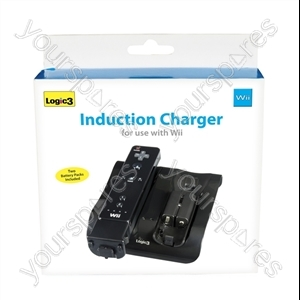 Wii Induction Charger & 2 Batt Packs(bk)