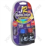 JR Inkjet Printer Ink Cartridge Refill Kit | Black & Colour MultiPack | 4 x 30ml