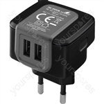 USB Plug-in Power Supply 2.4A - Switch-mode Psu With 2 Usb Outputs