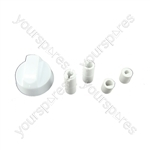 Universal Cooker/Oven/Grill Control Knob And Adaptors White